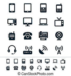 Communication device icons - Simple vector icons Clear and...