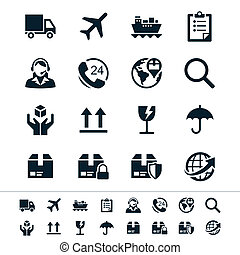 Logistics and shipping icons - Simple vector icons. Clear...