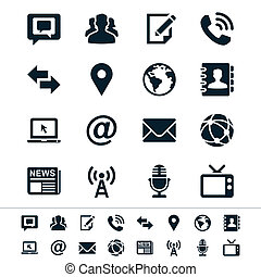 Media and communication icons - Simple vector icons. Clear...