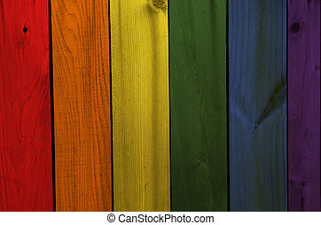 gay flag wooden texture background