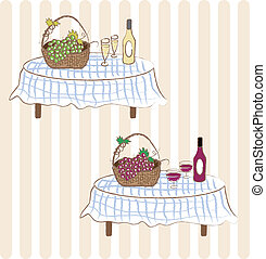 Red and white wine with grape - Two illustrations - red wine...