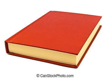 Hardback red book on a white background