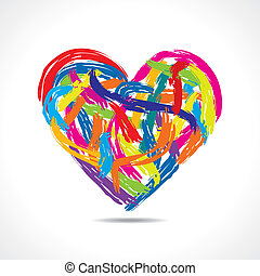 colorful heart with paint strokes - love concept, colorful...