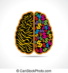 brain with dollar symbol - Conceptual idea: silhouette image...