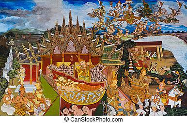 tradycyjny, Thaï, ścienny, Malarstwo