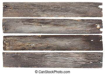 collection old wood plank isolated on white with clipping...