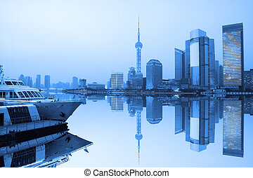 Shanghai city skyline - Night view of Shanghai urban...