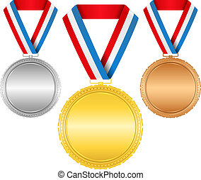 Golden, silver and bronze medals with ribbons
