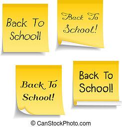 Yellow sticky notes with text Back To School