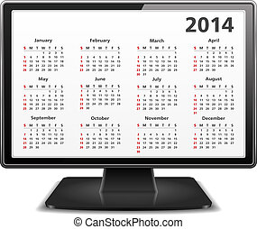 2014 Calendar in Computer Monitor - 2014 Calendar on the...