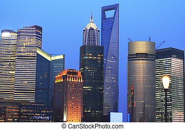 Urban landscape of the Far East Shanghai dusk blue sky