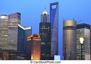 Urban landscape of the Far East Shanghai dusk blue sky -...