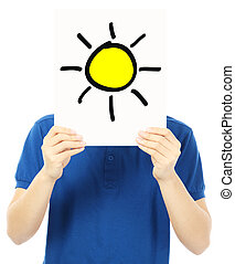 Sunny Outlook - A teenager holding a signboard with a sketch...