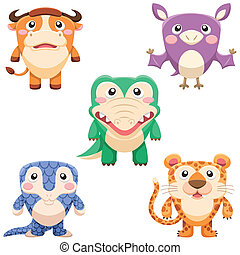 cute animals set - five cute animals set vector with white...