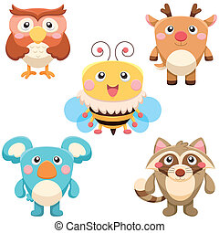 cute animals set - five cute animals set. vector with white...