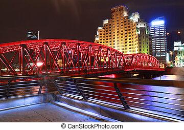 Shanghai bund garden bridge at night