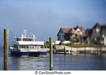 Ferry boat. - Ferry boat heading into channel on Bald Head...