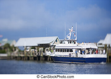 Ferry boat at dock. - Ferry boat heading into port on Bald...
