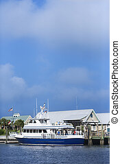 Ferry boat on Bald Head Island. - Ferry boat docked at port...