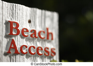 Beach access sign. - Beach access sign on Bald Head Island,...