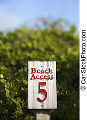 Beach access sign - Beach access sign on Bald Head Island,...