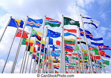 les, mondiale, national, Drapeaux