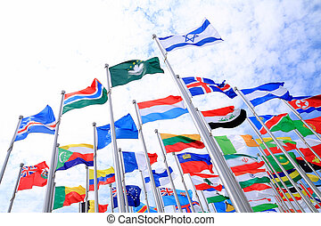 Israel and British Commonwealth flags and world national...