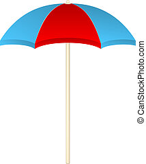 Beach umbrella in red and blue design on white background