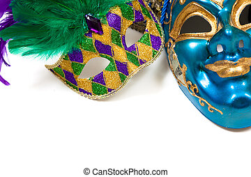 Mardi gras masks on white - Various colored mardi gras masks...