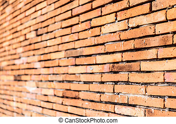 Old orange brown brick wall texture background
