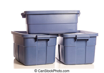 Stack of three blue storage tubs - A stack of three blue...