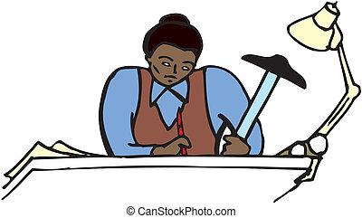 Draftswoman At Work
