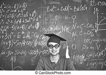 Smart student - Black-and-white image of student in...