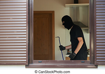 thief burglar at house breaking - Thief Burglar inside house...