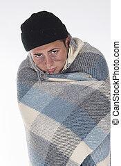 desabrigado, embrulhado, cobertor