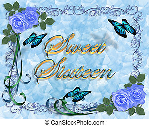 Sweet 16 Birthday Blue Roses Border - Image and illustration...
