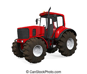 Red Tractor Isolated - Red Tractor isolated on white...