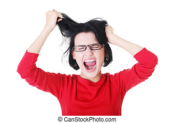 Woman stressed is going crazy pulling her hair. - Woman...