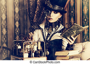 doctrine - Portrait of a beautiful steampunk woman over...