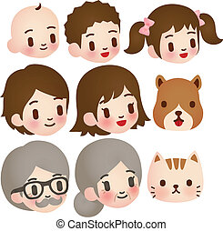 Collection of Cute Family Character - EPS10