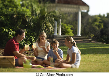 Family eating - Caucasian family of four having picnic in...