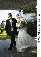 Bride and groom. - Caucasian mid-adult bride and groom...