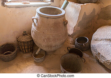 Museum with artifacts of ancient Greek pottery and clay...