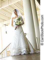 Portrait of bride. - Caucasian mid-adult bride portrait.