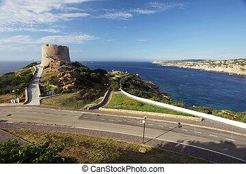 Tower Torre Aragonese in Santa Teresa di Gallura, Sardinia,...