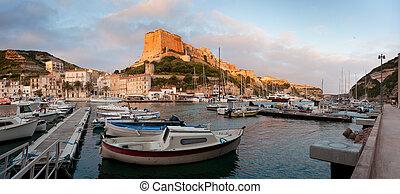Bonifacio marina at sunrise, Corsica, France