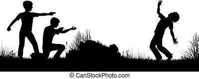 Playing soldiers - Editable vector silhouette of young boys...