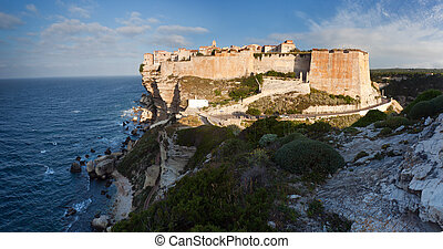 Bonifacio in morning sun, Corsica, France