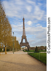 Eiffel tower from Champ de Mars after sunrise