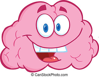 Happy Brain Character - Happy Brain Cartoon Character
